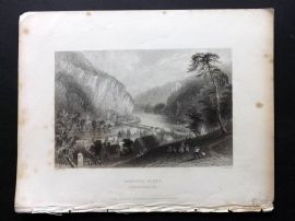 Bartlett America C1840 Print. Harpers Ferry, from the Potomac Side, Virginia
